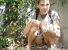 Девушка села пописать прямо перед скрытой камерой